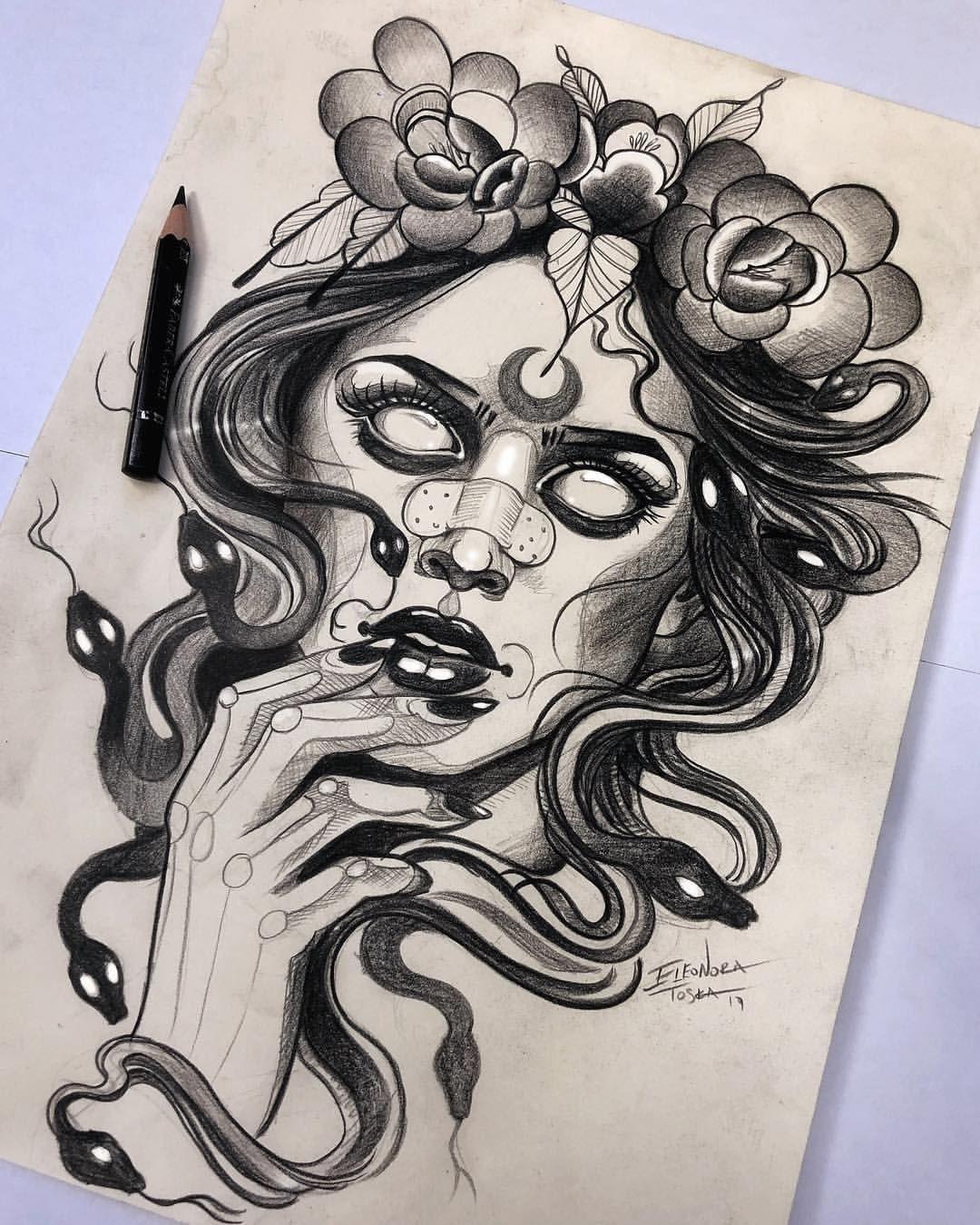 dibujo de medusa en blanco y negro