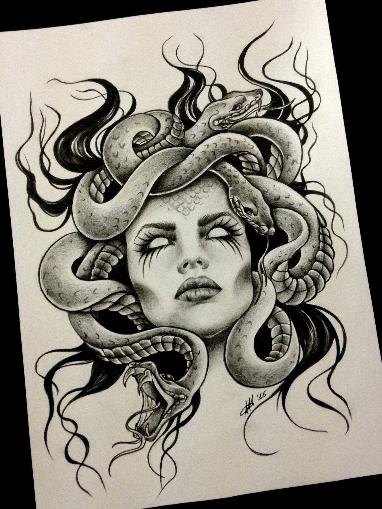 dibujo para tatuaje de la diosa medusa